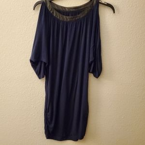 INC Navy Blue Long Cold Shoulder Blouse Sz M